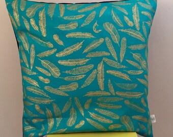 Teal gold leaf cushion cover