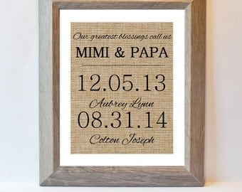 Our greatest blessings, burlap print, gift, mothers day, fathers day, personalized, custom grandma gift, custom grandpa gift