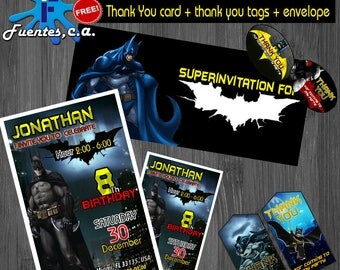 Batman Invitations, FREE, Thank you card and Tags, envelope, batman party