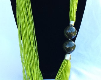 Lime Green African Statement necklace, Gift for her, Free Shipping