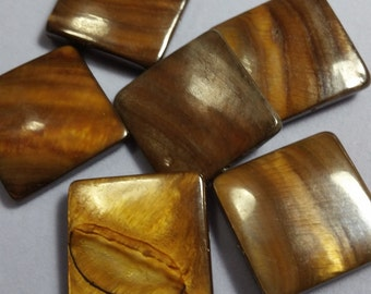 Mother of Pearl Brown Square beads - 6 pack - shell pendant -shell necklace - shell beads - MOP - pearl beads