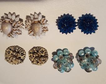 4 Pairs Clip On Earrings