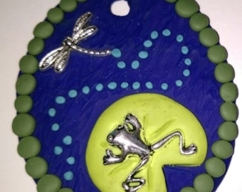 Frog and Dragonfly Pendant