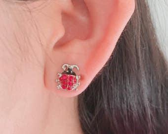 Ladybug earrings, bug earrings, insect earrings, creature earrings, post back earrings, stud earrings, post backs, cute earrings