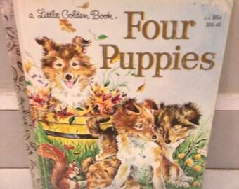 Little Golden Book/Four Puppies/vintage children's book/Golden Book/puppy book