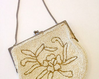 Vintage beaded purse/Made in Belgium/small beaded evening bag/vintage accessory/vintage handbag/CLEARANCE