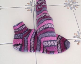 Handknit Wool Blend Quartersocks for ladies size medium