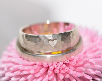 Wedding rings white gold hammered * my HEART is YOURS *.