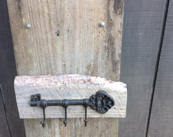 Barn wood white washed key holder