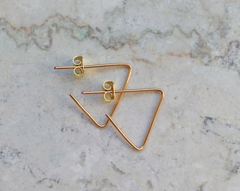 Earring / gold plated / triangle/triangle / modern / 935 silver
