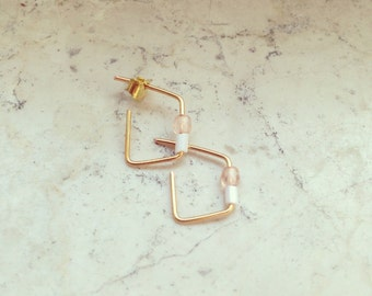 Earring / gold plated / geometric / square / modern / 935 silver
