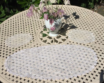 Vintage lace doilies, dressing table mats,delicate, ecru off white