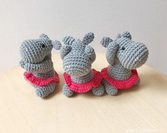 Three wise HIPPOS crochet amigurumi - see no evil, speak no evil, hear no evil - hippo gift, birthday gift, nursery decor, gift women
