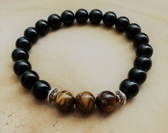 Men's Bracelet from Onyx and Tiger Eye beads