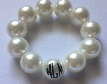 Monogrammed Pearl Bracelet- Personalized Pearl Bracelet- Personalized Jewelry- Monogrammed Jewelry- Monogram Accessories- Monogram Bracelet-