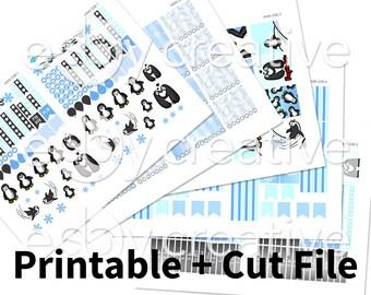 Penguin Theme - Weekly Sticker Kit Printable for Erin Condren Horizontal - HWK-038 - INSTANT DOWNLOAD