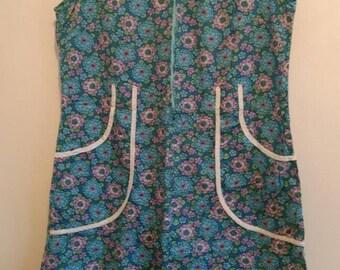 1960s floral house dress,lightweight summer cotton