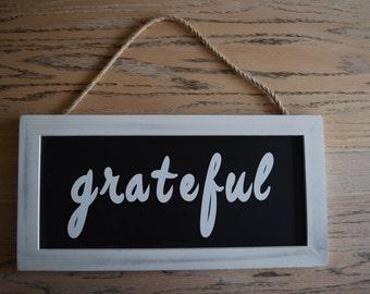 Grateful CHALKBOARD vinyl sign, photo prop, thankful sign, decoration, home decor, white frame chalkboard, hanging sign