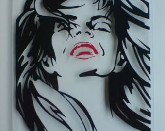 Wall Art Wall Picture Retro Pop Art Display Lipstick Red 40cm x 30cm Clear Glass Effect 5mm Perspex Acrylic