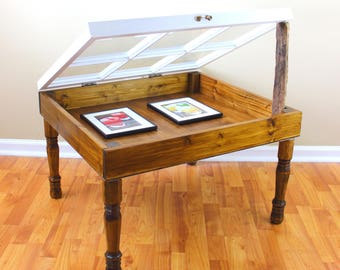 Handmade Window Display Table - Display Coffee Table - Display End Table - 6 Pane Window Table - Shadow Box Table