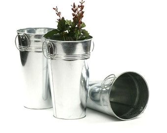 Galvanized French Bucket. Wedding Centerpiece, Floral Centerpiece, Rustic Chic Wedding, Tall container