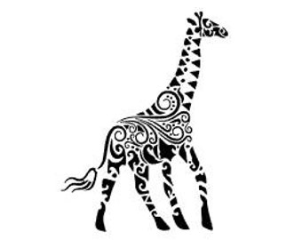 GIRAFFE, Tribal Style Giraffe; Quality Vinyl Decal; Christmas Car Decals, Gifts for Animal Lovers, Christmas Gift, FAST SHIPPING!!