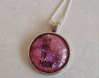 Fly Me To Moon Glass Pendant