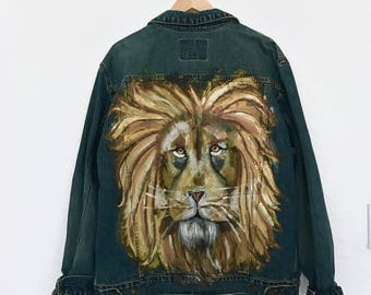 Lion Hand-Painted Oversized Denim Jean Jacket