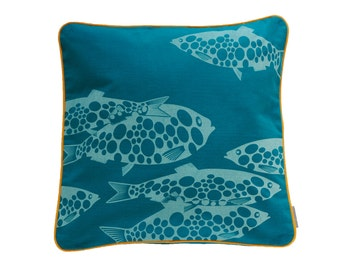 Pillowcase MISS FISH, petrol / light blue, 50 x 50 cm (without filling)