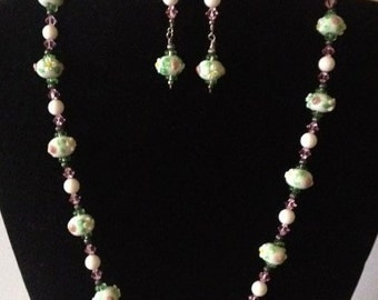 Lampwork Necklace and Earring Set ... NE-628