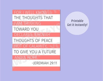 Jeremiah 29:11 NWT, Thoughts of Peace, Future and Hope,Jehovah's Thoughts,JW Printable Wall Art,Encouragement,Bible Scripture,jw.org print