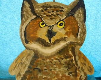 Hand painted wooden Owl - Priority Shipping Worldwide! MORE Paintings and Owls in shoppe!