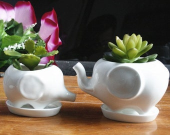 Set of 2 Adorable Elephant Planters for Home or the Office, Plants NOT Included