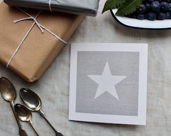 Star card//Blank card//thank you card//Star on grey linen card//art card//art print//birthday card//occasion//frameable print//white star