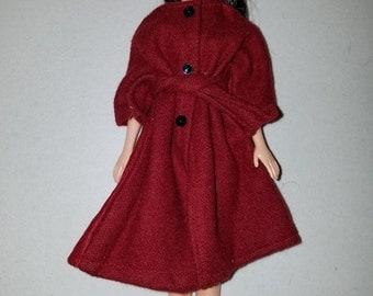 Barbie cranberry wool coat vintage style
