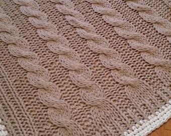 Chunky knit blanket 63x63 in (160x160cm) / Strickdecke/ Wolldecke/ Wollplaid/ Tagesdecke/ Kuscheldecke