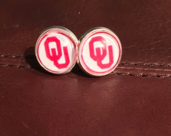 Oklahoma Sooners 12mm earrings on stainless steel bezel covered with glass canochon - Boomer Sooner!
