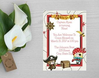 Pirate Birthday Invitation-Pirate Party Invite-Boys Pirate Invitation-Girls Pirate Invitation-Pirate Birthday Party Invite-Pirate Invite