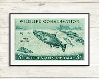 King Salmon, Salmon art, fish art, fishing art, fishing gifts, salmon posters, salmon prints, fisherman prints, lodge decor, cottage decor