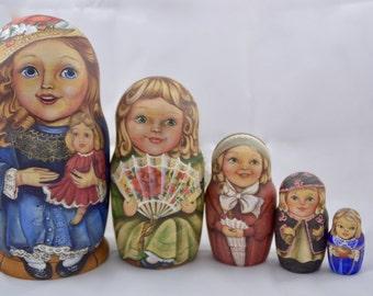 Doll - 5 set Russian nesting dolls exclusive children-matryoshka