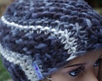 grey cross knitted Merino Wool Hat
