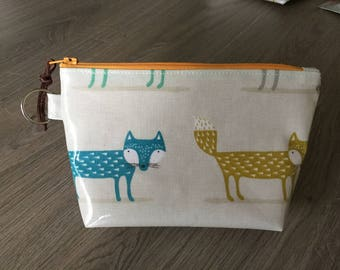 New handmade oilcloth make up bag, cosmetic pouch, purse