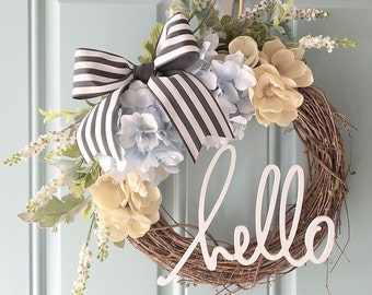 Spring Wreath With Hello // 12 Inch // Southern // Flowers