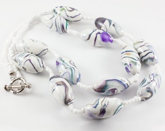Watercolours on White - Polymer Clay Necklace