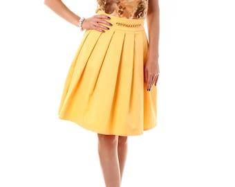 Midi skirt, circle skirt, yellow skirt, pleated skirt, high waisted skirt, summer skirt, romantic skirt, knee length skirt, cotton skirt