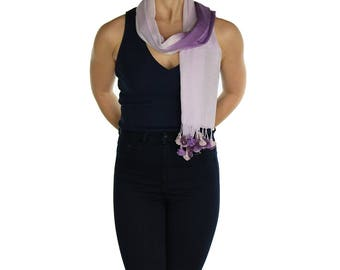 Lavender Lilac Purple  Pom Pom Scarf Shawl Wrap Pashmina - Handmade - Ladies Scarves