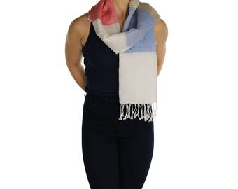 Womens Cotton Linen Scarf Shawl Wrap Stole - Handmade - Ladies Scarves