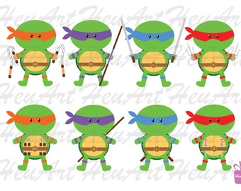 NEW Ninja Turtle Standard Clipart, Turtle Digital, Turtle Clipart, Cute Printables, Cute Stickers, Cute Prints,Ninja Turtle Printables,Party