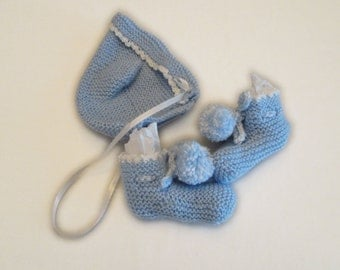 Pastel Blue Baby Bootie and Hat Set