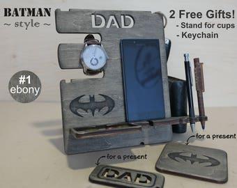 Mens birthday gift, Gift for him, Gift for men, Gift for husband, Gift for dad, Docking station, Iphone 7 gift, Desk organizer, Batman gift